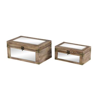 """""""( Set of 2 ) Brown Wood Natural Box, 12"""""""", 9"""""""" - 46275"""""""