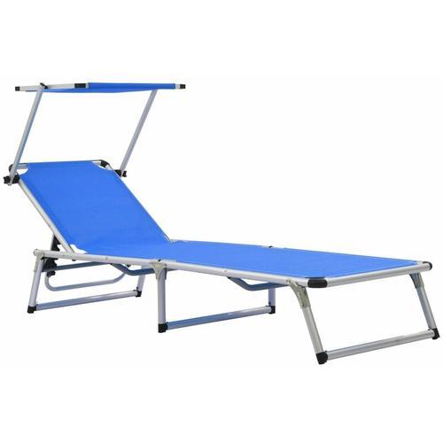 Klappliege mit Sonnenschutz Aluminium und Textiline Blau