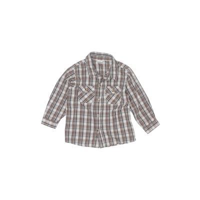 Children's Apparel Network Long Sleeve Button Down Shirt: Gray Print Tops - Size 4Toddler