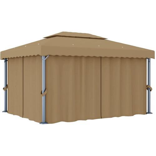 Pavillon mit Vorhang 4x3 m Taupe Aluminium