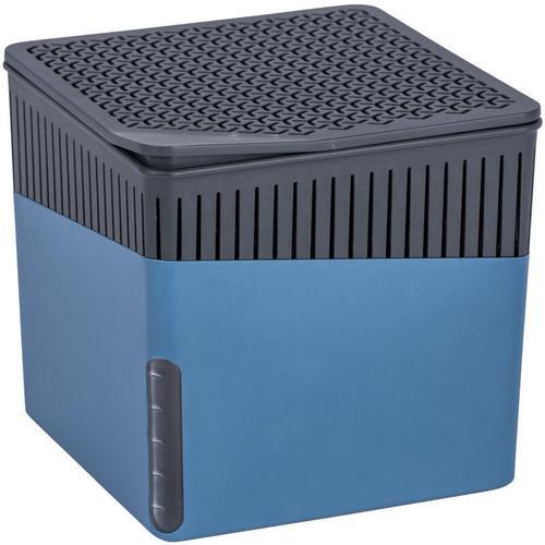 Wenko Raumentfeuchter Cube Blau 1000 g, 2er Set - Gehäuse: Blau, Calciumchlorid: Weiß, Korb: