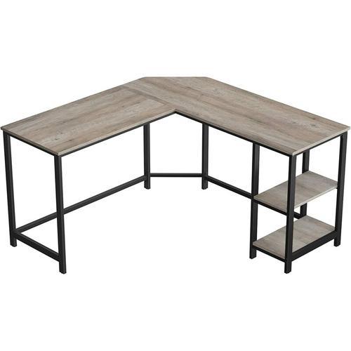 VASAGLE Schreibtisch, L-förmiger Computertisch, Eckschreibtisch mit 2 Ablagen, platzsparender