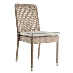 Chaise de jardin avec coussin en résine gris
