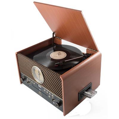 Platine vinyle station audio 5 en 1 marron naturel