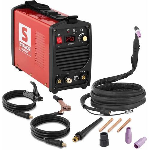 Stamos Welding - Schweißgerät Wig DC Profi Mosfet Inverter mma 250 A 4 M Kabel LED 60% DC Stamos