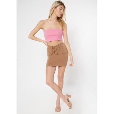 Rue21 Womens Brown Ruched Front Mini Bodycon Skirt - Size S
