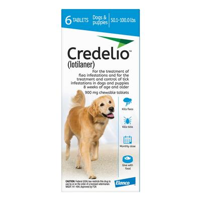 Credelio For Dogs 50-100 lbs (900mg) Blue 12 Doses