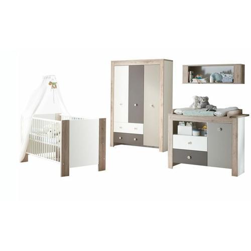 Kindermoebel-24shop - Babyzimmer Bea 4-tlg Babybett + Wickelkommode inkl Wickelauflage +