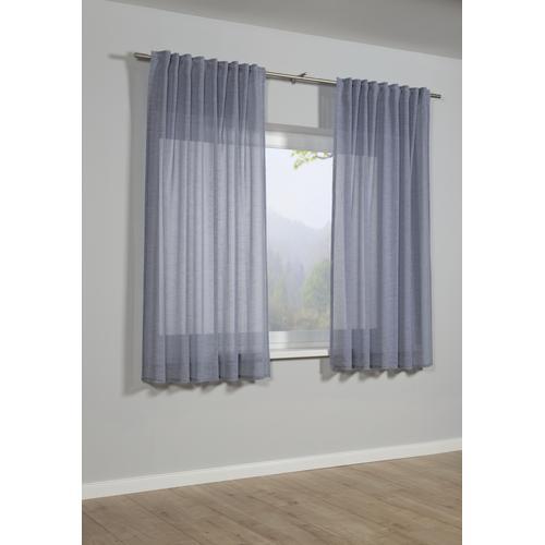 GARDINIA Gardine Schal mit Gardinenband Struktur Uni, Vorhang blau Wohnzimmergardinen Gardinen nach Räumen Vorhänge