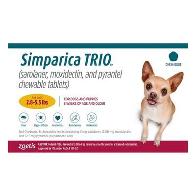 Simparica Trio For Dogs 2.8-5.5 Lbs (Gold) 3 Chews