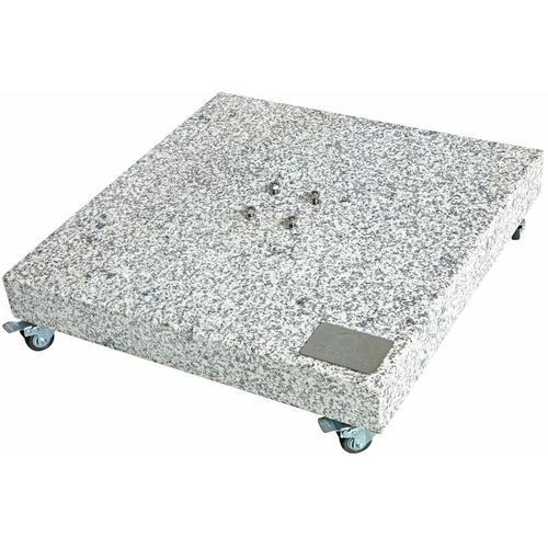 Granitplatte mit Rollen, Sockel für Sonnenschirm, 140 kg, 80 x 80 x 8 cm - Doppler