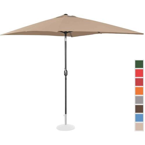 Sonnenschirm groß Gartenschirm (rechteckig, 200 x 300 cm, neigbar, taupe) - Uniprodo