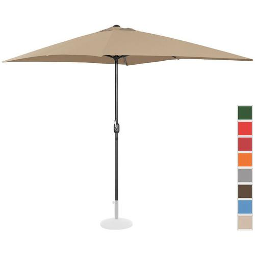 Sonnenschirm groß Gartenschirm (rechteckig, 200 x 300 cm, taupe) - Uniprodo