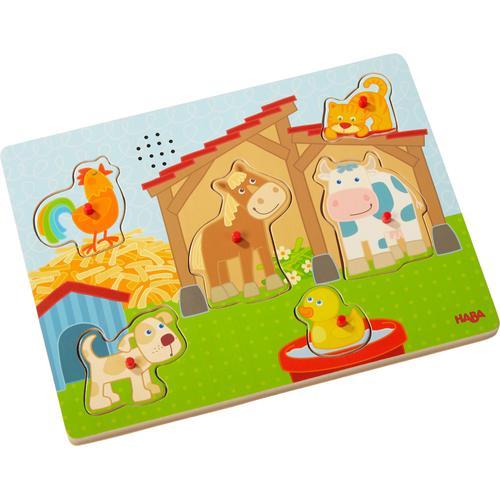 Haba Steckpuzzle Auf dem Land, (6 tlg.), mit Soundeffekten bunt Kinder Puzzle Gesellschaftsspiele