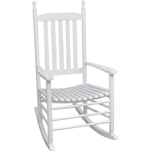 Schaukelstuhl mit Gebogener Sitzfl?che Wei? Holz