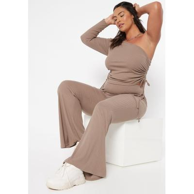 Rue21 Womens Plus Size Taupe Ribbed Flare Pants - Size 1X