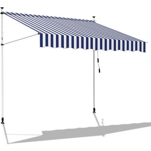 250 x 120 cm Markise Einziehbar Klemmmarkise Balkonmarkise Sonnenschutz ohne Bohren