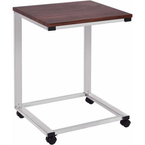 Laptoptisch mit Rollen, Beistelltisch Sofatisch Notebooktisch Pflegetisch Ablagetisch Metall + Holz