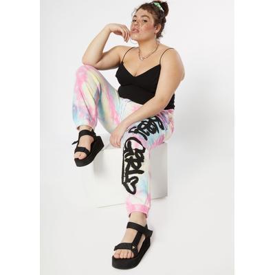 Rue21 Womens Plus Size Pastel Tie Dye Baby Girl Graffiti Graphic Joggers - Size 2X