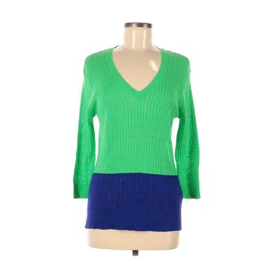 Jcpenney Pullover Sweater: Green Solid Tops - Size Medium