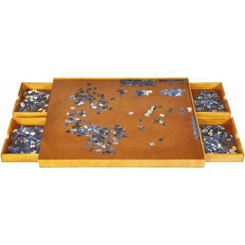 Puzzletisch mit 4 Schubladen, Puzzle Board Holz, mit ebener Arbeitsoberflaeche, 80x65cm fuer