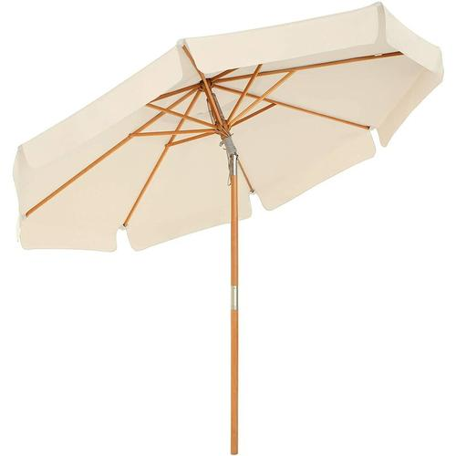 Holz-Sonnenschirm, Ø 300 cm, Marktschirm, UV-Schutz UPF 50+, Gartenschirm, Terrassenschirm,