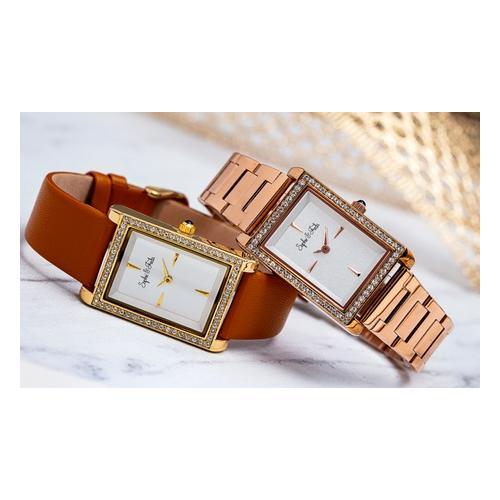Sophie&Freda Armbanduhr mit Swarovski®-Kristallen: Braun