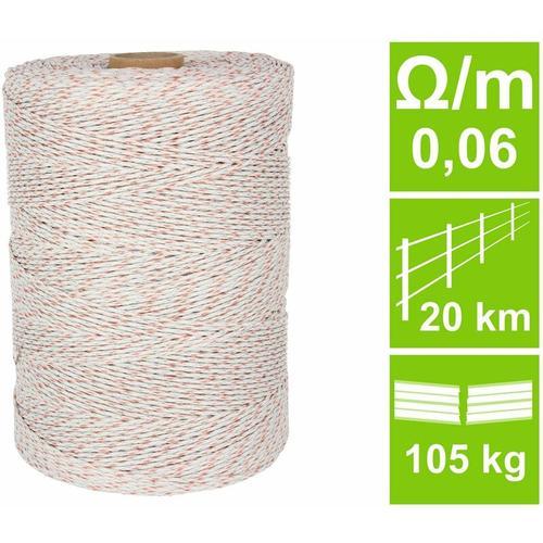 Averde - Weidezaunlitze HQ, weiß/orange, 0,06 Ohm/m, 1000 m