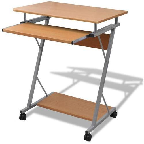 Computertisch Computerwagen PC Tisch Bürotisch Laptop auf Rollen braun 07399