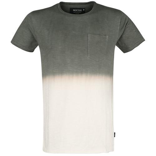 Indicode Hess Herren-T-Shirt - oliv weiß