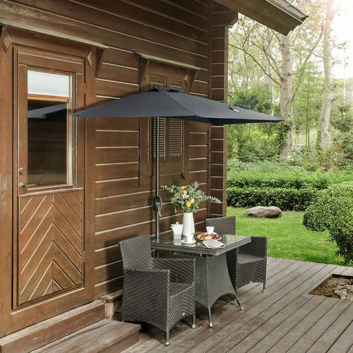 Sonnenschirm, Ø 270 cm, halbrund, Marktschirm, UV-Schutz bis UPF 50+, Gartenschirm,