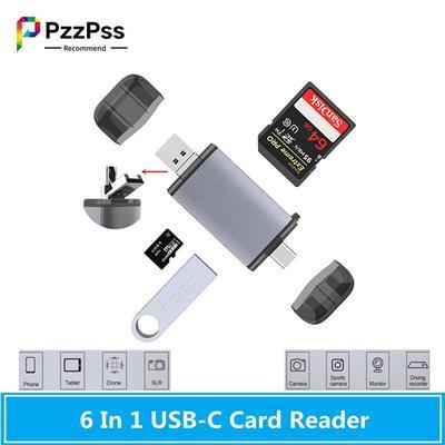 PzzPss – lecteurs de cartes mémoire OTG 6 en 1, USB type-c/MicroUSB/USB2.0/TF/SD, pour ordinateur