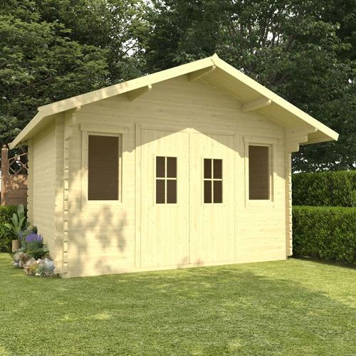Blockhaus mit Boden 44 mm 4×3×2,91 m Kiefer Massivholz
