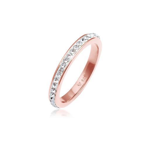 Ring Bandring Kristall 925 Silber Elli Rosa