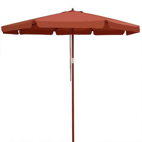 Sonnenschirm Holz 330 cm UV Schutz 50+ wasserabweisend terracotta