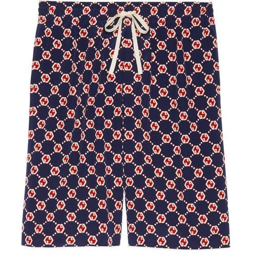 Gucci Shorts aus Seiden Crêpe mit sechseckigem GG Print