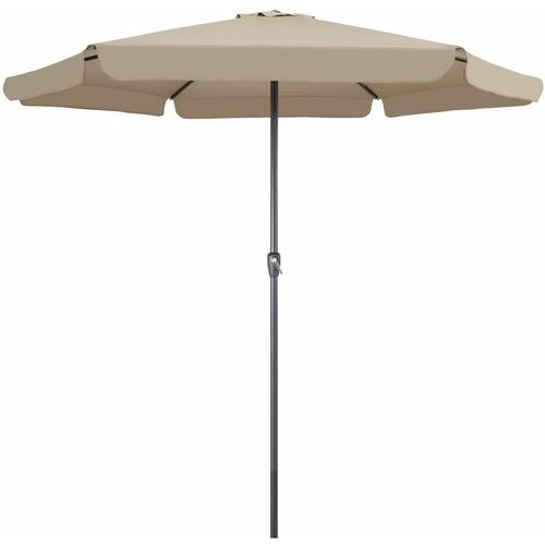 Sonnenschirm Ø330cm UV-Schutz 50+ Gartenschirm Kurbelschirm Marktschirm Schirm taupe