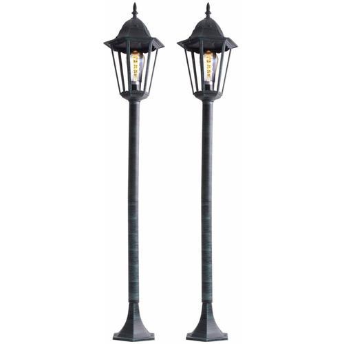 2er Set LED ALU Steh Leuchten Garten Weg Beleuchtung Außen Lampen Hof Einfahrt Laternen rustikal