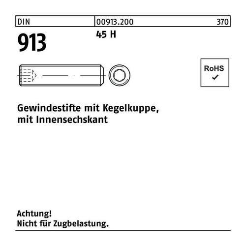 DIVERSE Gewindestift Gewindestift DIN 913 Kegelkuppe/Innen-6-kant M 12 x 70 45 H