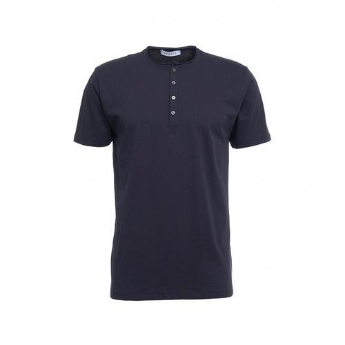 Gender Herren T-Shirt mit halber Knopfleiste Blau