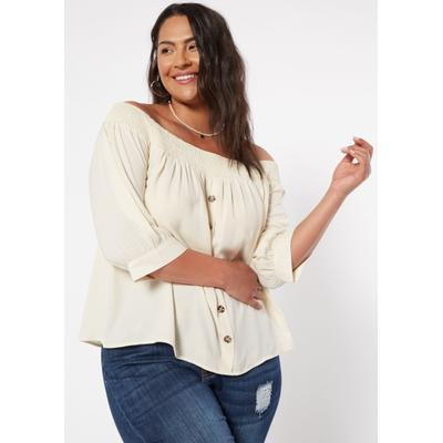Rue21 Womens Plus Size Ivory Button Front Off The Shoulder Top - Size 3X