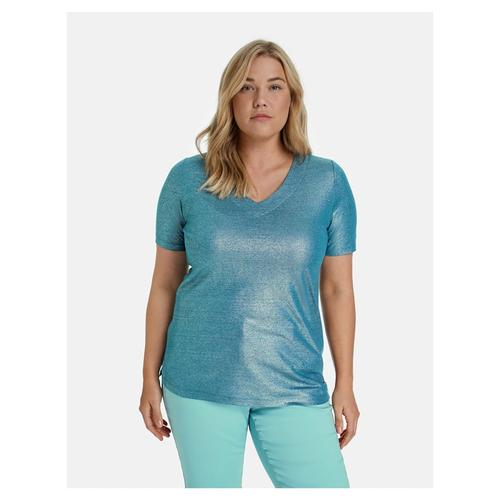 V-Shirt aus schimmerndem Leinen-Mix Samoon Blue Coral