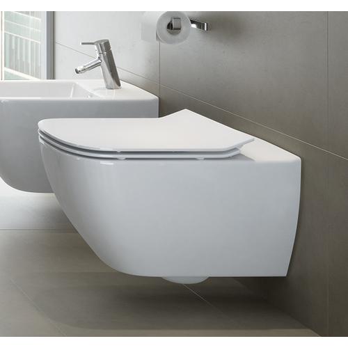 Neuesbad Serie 200 Wand-Tiefspül-WC spülrandlos (rimless), weiss mit Beschichtung, B:360, T:555mm 1K380141