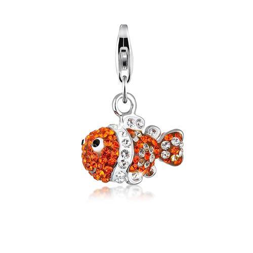 Charm Fisch Meer Bunt Kristalle 925 Silber Nenalina Orange