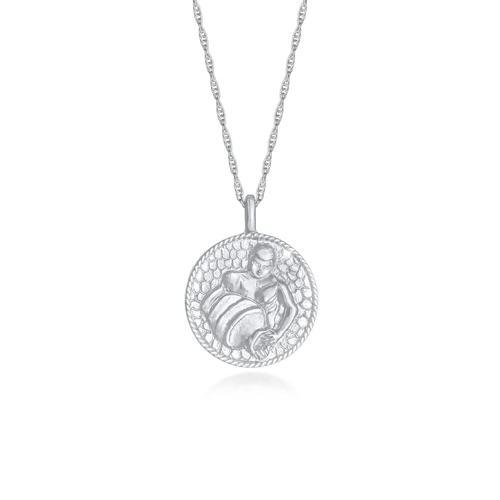 Halskette Sternzeichen Wassermann Münze 925 Silber Elli Silber