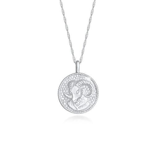 Halskette Sternzeichen Widder Münze 925 Silber Elli Silber
