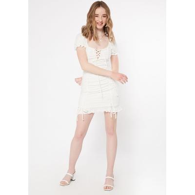 Rue21 Womens White Eyelet Puff Sleeve Mini Dress - Size Xl