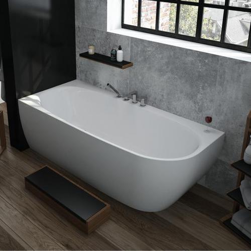 Hoesch iSENSI Eck-Badewanne mit Verkleidung L: 190 B: 90 H: 60 cm, Raumecke links ohne Wanneneinlauf 3825.010
