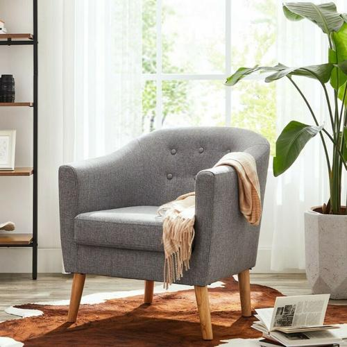 Songmics - VASAGLE Sessel, Relaxsessel, Fernsehsessel, Loungesessel, aus Stoff, mit gepolstertem