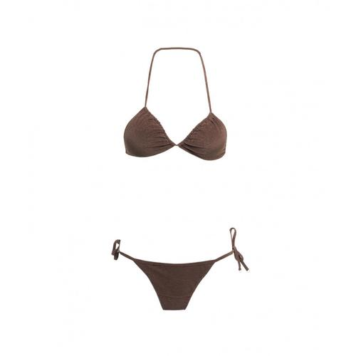 F**K Damen Triangel-Bikini mit Slip Braun